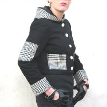 Black and White pure wool, hooded cropped jacket